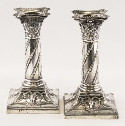 STERLING CANDLESTICK PAIR, LONDON, 1900