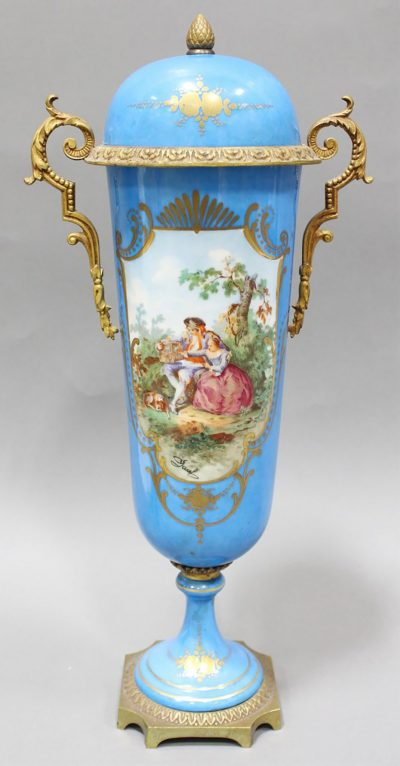 FRENCH SEVRES COVERED URN
