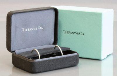 TIFFANY 18K WHITE GOLD DIAMOND HOOP EARRINGS