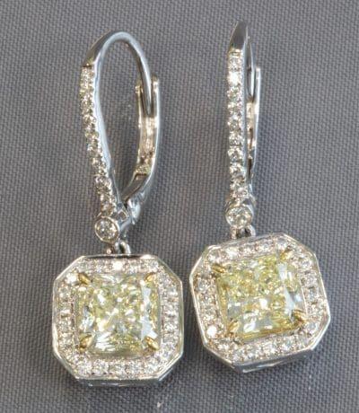 PLATINUM YELLOW DIAMOND DROP EARRINGS