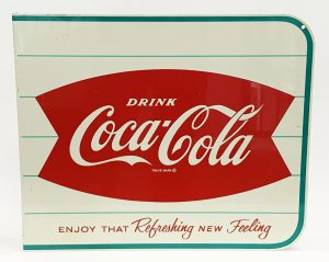 1950s COCA-COLA FISHTAIL ADVERTISING SIGN