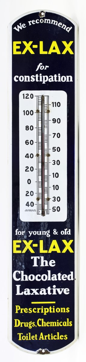 EX-LAX THERMOMETER ADVERTISING SIGN
