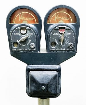 DOUBLE HEADED COIN OPERATED PARKING METER