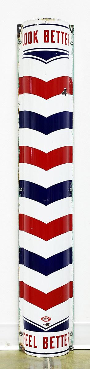 1940s BARBER SHOP POLE ADVERTISING SIGN