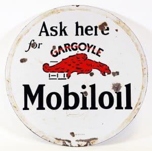 MOBILOIL 'GARGOYLE' DOUBLE SIDED LOLIPOP SIGN
