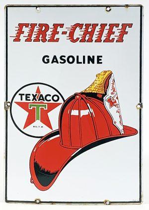 1940s FIRE CHIEF GASOLINE / TEXACO PUMP PLATE