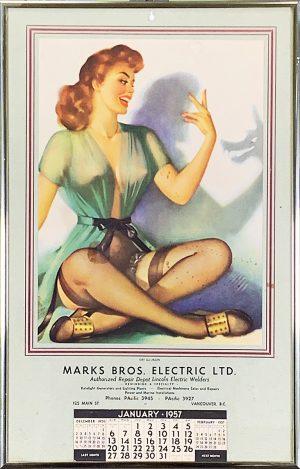 1957 PINUP ADVERTISING CALENDAR