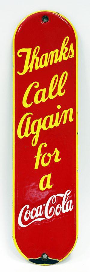 COCA-COLA ADVERTISING PALM PRESS / DOOR PUSH PLATE