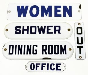 PORCELAIN ROOM ID & DIRECTIONAL SIGNS (5)