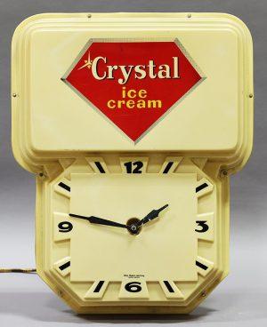 CRYSTAL ICE CREAM ADVERTISING CLOCK